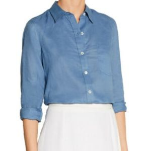 Theory Tianmer Linen Button Down Blue SZ Small